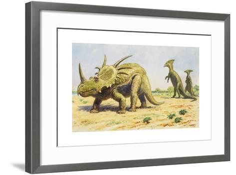 Both the Styracosaurus (Right) and the Parasaurolohus Were Herbivores-Charles R. Knight-Framed Art Print
