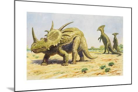Both the Styracosaurus (Right) and the Parasaurolohus Were Herbivores-Charles R. Knight-Mounted Giclee Print