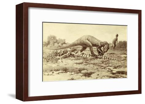 Painting of Two Tyrannosaurs Rex; One Eats Brontosaurus Remains-Charles R. Knight-Framed Art Print