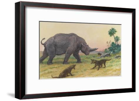 Bony Growths on the Arsinoitherium Protect it Against Hyaenodons-Charles R. Knight-Framed Art Print
