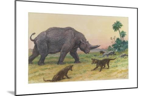 Bony Growths on the Arsinoitherium Protect it Against Hyaenodons-Charles R. Knight-Mounted Giclee Print