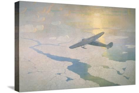 The Valiant Byrd Airplane Soars under the Glow of the Midnight Sun-Newell Convers Wyeth-Stretched Canvas Print