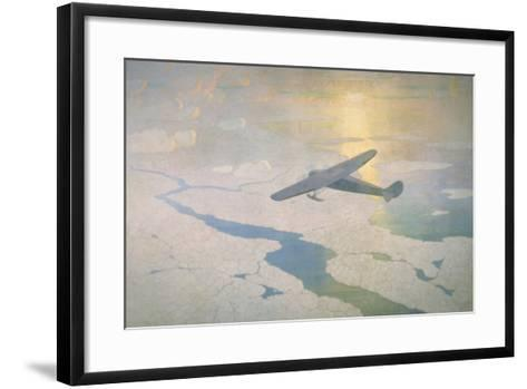 The Valiant Byrd Airplane Soars under the Glow of the Midnight Sun-Newell Convers Wyeth-Framed Art Print