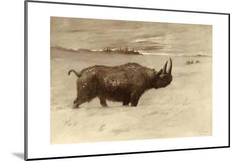 A Painting of a Woolly Rhinoceros Tichorhinus of the Pleistocene Age-Charles R. Knight-Mounted Giclee Print