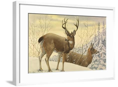 A Painting of Two Black-Tailed Deer Standing in the Snow-Louis Agassi Fuertes-Framed Art Print