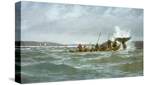 Basque Whalers Attempt to Tow a Wounded Whale Ashore to Newfoundland-Richard Schlecht-Stretched Canvas Print