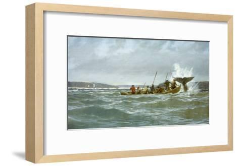Basque Whalers Attempt to Tow a Wounded Whale Ashore to Newfoundland-Richard Schlecht-Framed Art Print