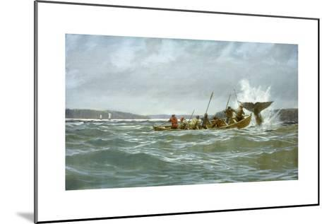 Basque Whalers Attempt to Tow a Wounded Whale Ashore to Newfoundland-Richard Schlecht-Mounted Giclee Print