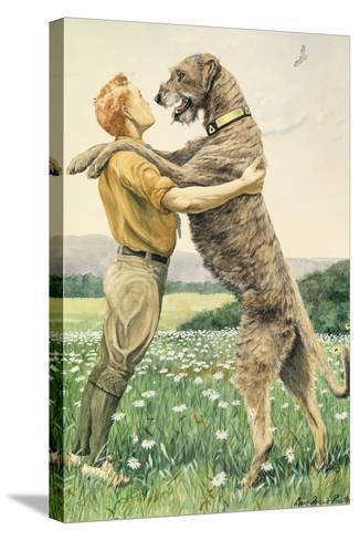 An Irish Wolfhound, on His Hind Legs, Stands Taller Than His Master-Louis Agassi Fuertes-Stretched Canvas Print