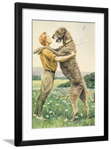 An Irish Wolfhound, on His Hind Legs, Stands Taller Than His Master-Louis Agassi Fuertes-Framed Art Print