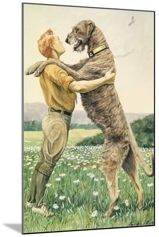 An Irish Wolfhound, on His Hind Legs, Stands Taller Than His Master-Louis Agassi Fuertes-Mounted Giclee Print