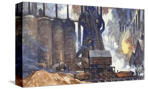 A View of an American Steel Mill and its Smoke Stacks-Thornton Oakley-Stretched Canvas Print