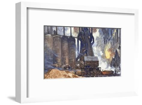 A View of an American Steel Mill and its Smoke Stacks-Thornton Oakley-Framed Art Print