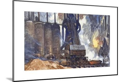A View of an American Steel Mill and its Smoke Stacks-Thornton Oakley-Mounted Giclee Print