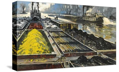 Barges Full of Raw Materials Travel Up and Down the Mississippi River-Thornton Oakley-Stretched Canvas Print