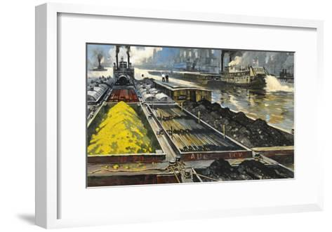 Barges Full of Raw Materials Travel Up and Down the Mississippi River-Thornton Oakley-Framed Art Print