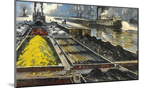 Barges Full of Raw Materials Travel Up and Down the Mississippi River-Thornton Oakley-Mounted Giclee Print