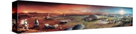 Depiction of Terraforming Transformation of Mars' Surface-Stephan Morrell-Stretched Canvas Print