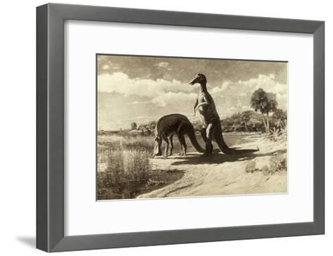 A Painting of Two Dinosaurs with Duck-Like Heads-Charles R. Knight-Framed Art Print