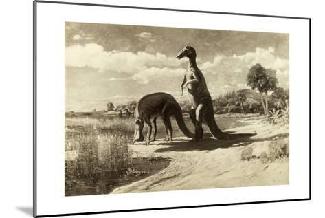 A Painting of Two Dinosaurs with Duck-Like Heads-Charles R. Knight-Mounted Giclee Print
