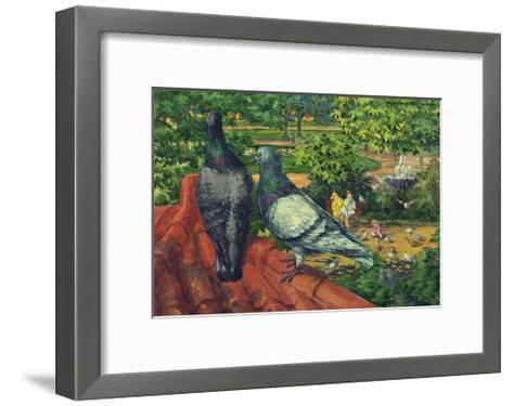 Two Park Pigeons Sit on Top of a Roof-Hashime Murayama-Framed Art Print