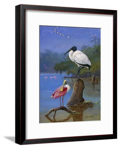 A Wood Ibis Perches with a Roseate Spoonbill on Dead Tree Limbs-Allan Brooks-Framed Art Print