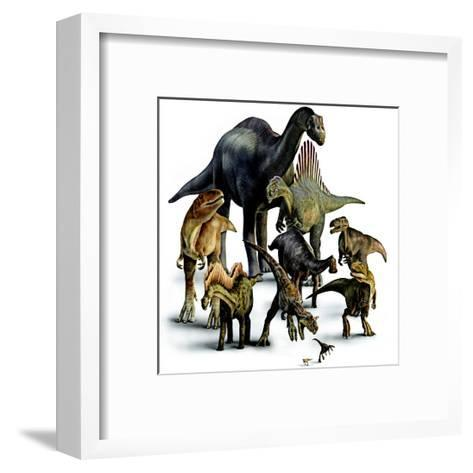A Composite of Dinosaurs That Lived in the Southern Hemisphere-Pixeldust Studios-Framed Art Print
