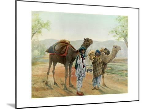 Two Boys Walk with their Arabian Camels Down a Dirt Road--Mounted Giclee Print