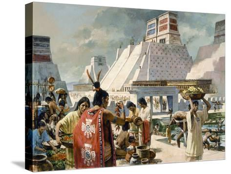 A Bustling Marketplace in the Aztec Capital of Tenochtitlan-H. Tom Hall-Stretched Canvas Print
