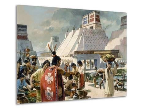A Bustling Marketplace in the Aztec Capital of Tenochtitlan-H. Tom Hall-Metal Print