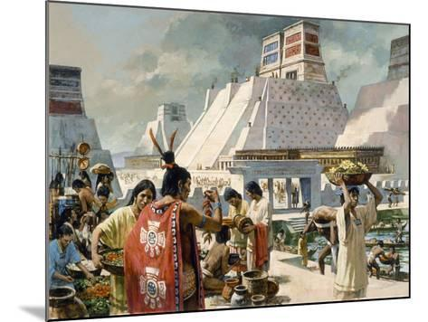 A Bustling Marketplace in the Aztec Capital of Tenochtitlan-H. Tom Hall-Mounted Giclee Print
