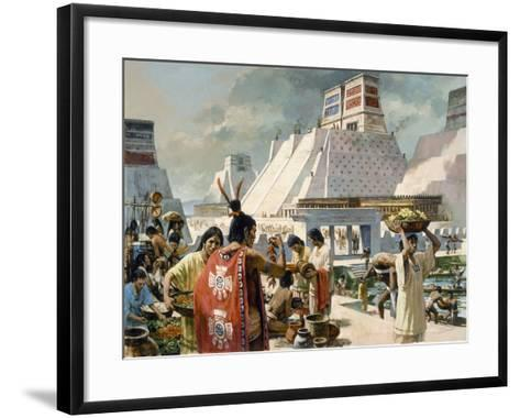 A Bustling Marketplace in the Aztec Capital of Tenochtitlan-H. Tom Hall-Framed Art Print