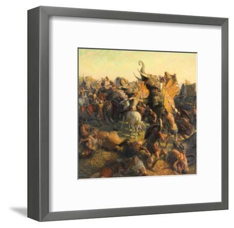 A Painting Depicts Alexander the Great Battling an Indian Army-Tom Lovell-Framed Art Print