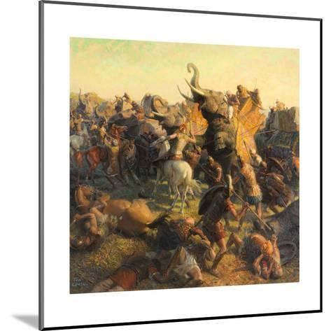 A Painting Depicts Alexander the Great Battling an Indian Army-Tom Lovell-Mounted Giclee Print