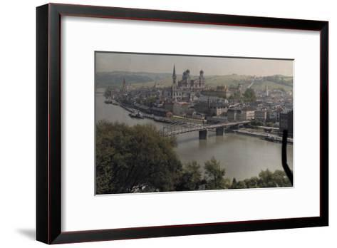 A View of the Town of Passau Along the Danube River-Hans Hildenbrand-Framed Art Print