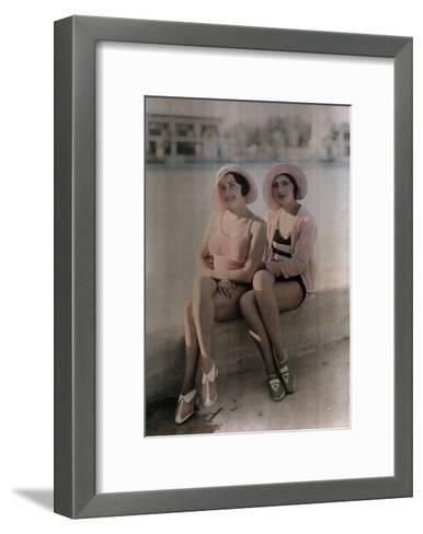 Two Girls in Bathing Suits Sit on a Concrete Ledge-Wilhelm Tobien-Framed Art Print