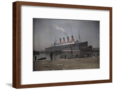 "A View of the Cunard S.S. ""Mauretania"" at Dock-Clifton R^ Adams-Framed Art Print"