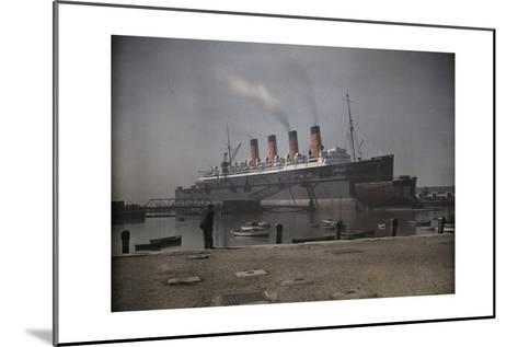 """A View of the Cunard S.S. """"Mauretania"""" at Dock-Clifton R^ Adams-Mounted Photographic Print"""