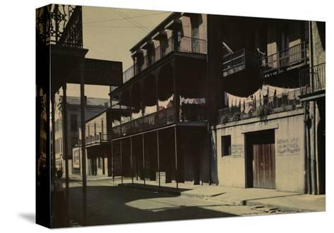 A View of a Street in the French Quarter-Edwin L^ Wisherd-Stretched Canvas Print