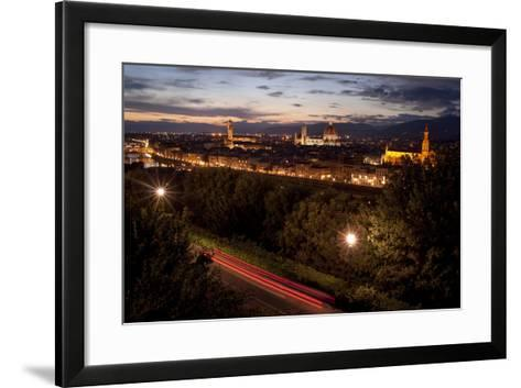 A View of Florence from Piazzale Michelangelo at Dusk-Tino Soriano-Framed Art Print