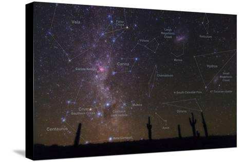 The Southern Sky with a Overlay Indicating Locations of Various Heavenly Bodies-Babak Tafreshi-Stretched Canvas Print