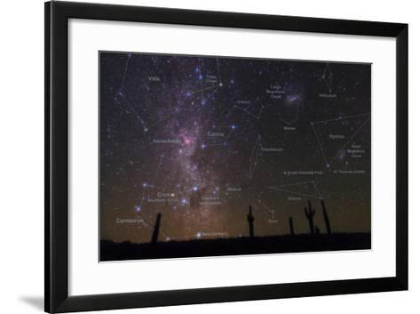 The Southern Sky with a Overlay Indicating Locations of Various Heavenly Bodies-Babak Tafreshi-Framed Art Print
