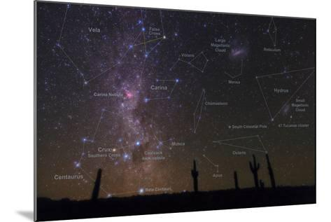 The Southern Sky with a Overlay Indicating Locations of Various Heavenly Bodies-Babak Tafreshi-Mounted Photographic Print