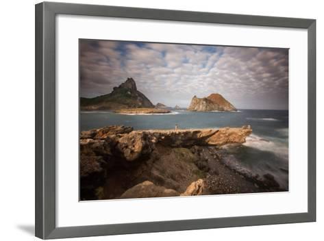 A Woman Stares Out at the Dramatic Landscape of Praia Do Sueste on Fernando De Noronha-Alex Saberi-Framed Art Print