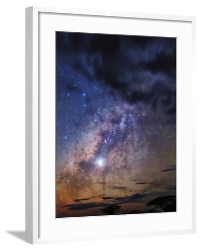 The Milky Way and Planet Venus in the Evening Sky over Silhouetted Tree Tops-Babak Tafreshi-Framed Art Print