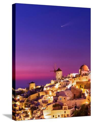 Dusk over the Aegean Sea and a Cliff-Top Town on Santorini Island. a Meteor Whizzes Overhead-Babak Tafreshi-Stretched Canvas Print