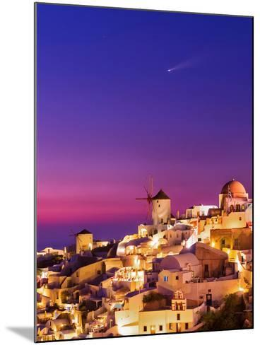 Dusk over the Aegean Sea and a Cliff-Top Town on Santorini Island. a Meteor Whizzes Overhead-Babak Tafreshi-Mounted Photographic Print