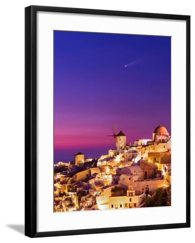 Dusk over the Aegean Sea and a Cliff-Top Town on Santorini Island. a Meteor Whizzes Overhead-Babak Tafreshi-Framed Art Print