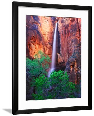 Heavy Spring Run Off Creating a Seldom Seen Waterfall in Zion National Park-Keith Ladzinski-Framed Art Print