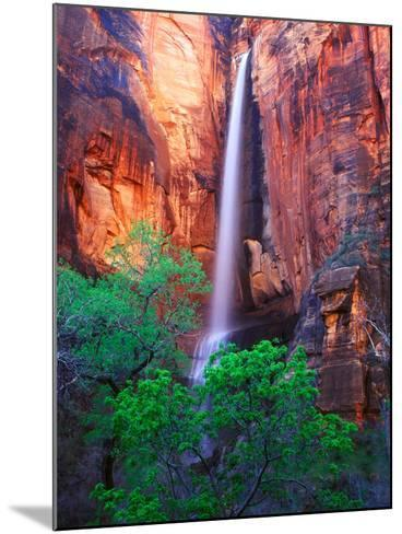 Heavy Spring Run Off Creating a Seldom Seen Waterfall in Zion National Park-Keith Ladzinski-Mounted Photographic Print